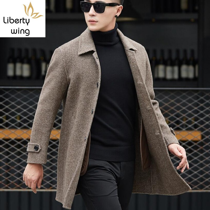 British Classic Mens Double-Faced Woolen Coat Office Male Slim Fit Overcoat Winter Business Work High Quality Wool Jacket 3XL