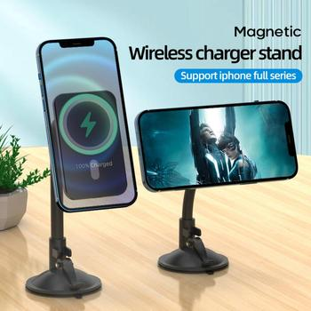 Magnetic Wireless Car Desktop Charger Mount Stand For iPhone 12 Pro Max XR X 15W Qi Fast Charging Dock Station Wireless Charging image