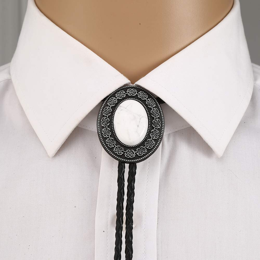 Nature Stone Howlite Silver Flower Bolo Tie For Man Cowboy Western Cowgirl Leather Rope Zinc Alloy Necktie