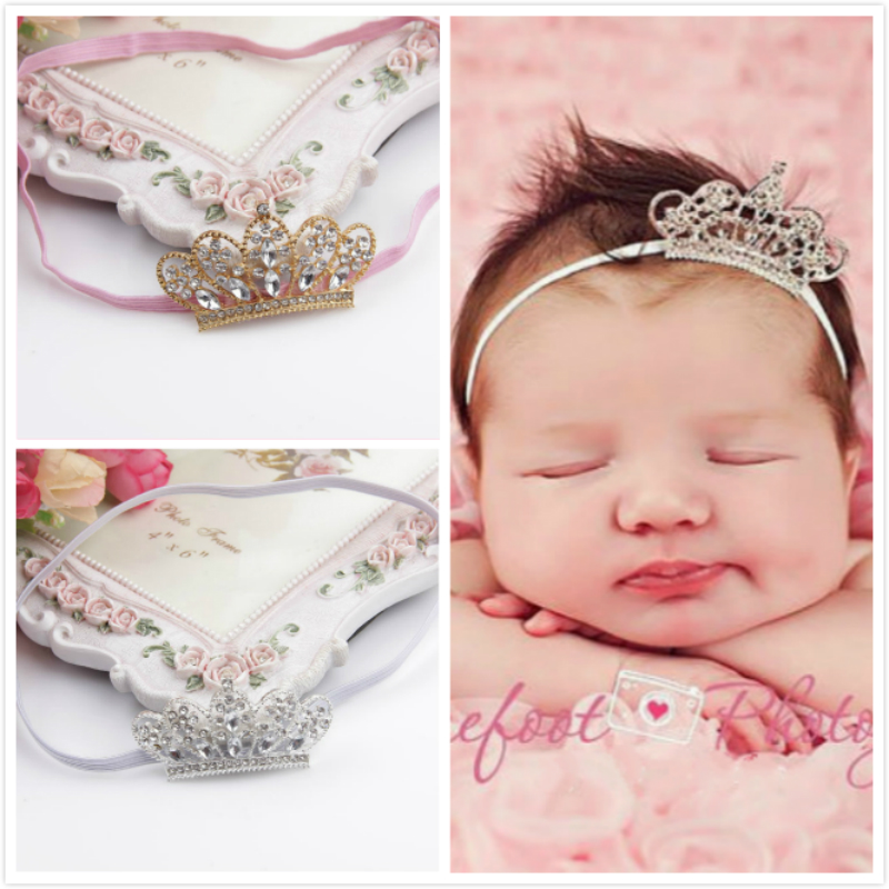 Baby Girls Princess Hairband Crown Headband Crystal Diamond Tiara Bands Accessories Photo Shoot For Newborn Photography Props