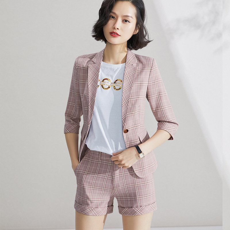 Pink Female Office Work Women's Formal Short Pant Suits Business Lady Uniform 2 Piece Set Blazer Trouser Jacket Suits Plus Size