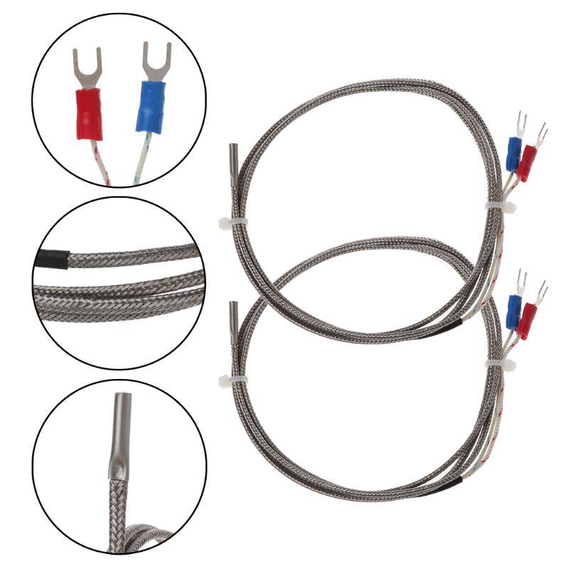 2Pcs 1m K-Type 0 To 600 Degree  Thermocouple Temperature Controller Sensor Probe 3x15x1000