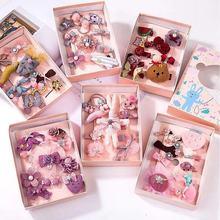 10Pcs/set Cute Baby Hair Clips Princess Shiny Headband Bows