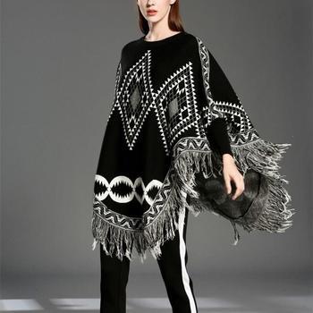 Autumn Sweater Women  Sexy Knit Cloak Ladies Europe America Street Style Shawl Sweater 4