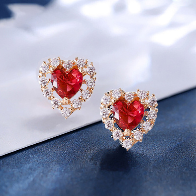 Red Heart Stud Earrings Cubic Zirconia Women Fashion Silver Earrings