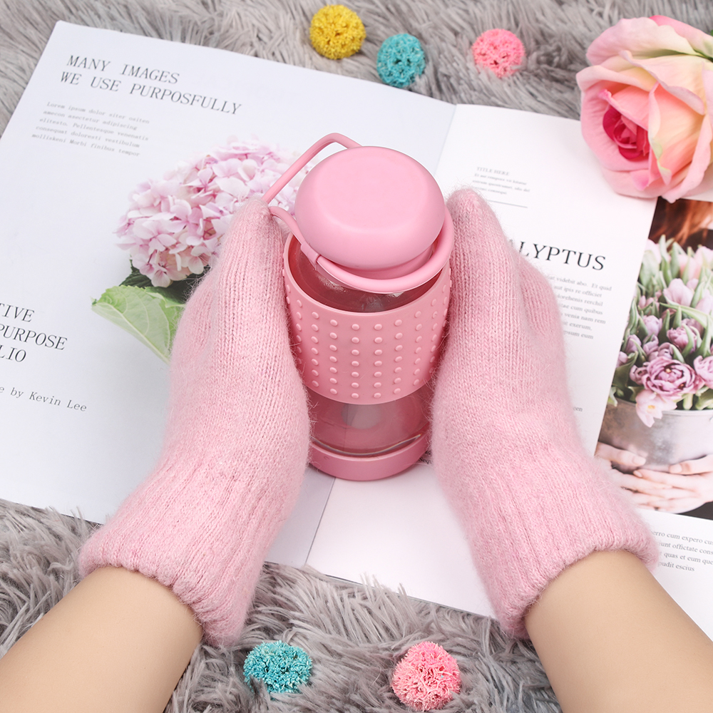 1Pair Fashion Women Girl Winter Kitted Gloves Rabbit Fur Mittens Soft Warm Candy Color Double Layer Female Gloves Christmas Gift
