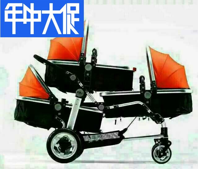 High Landscape Triple Baby Stroller  Three Baby Car Lying Folded Twins Stroller Newborn Baby Pram