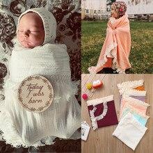 Brand New Baby Nreborn Infant Muslin Swaddle Blankets Pom Balls Tassel Solid Sleep Wrap Newborn Photography Blanket2019