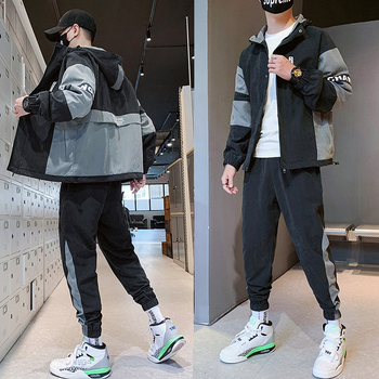 WWKK 2020 Hip Hop 2 pieces Set Mens Tracksuit Casual Letter Print Suits Loose Stand Collar Sweatshirts Men Jacket+Pants Sets 2019 spring hip hop clothes fashion letter printing tops light green pants suits female casual loose 2 piece sets