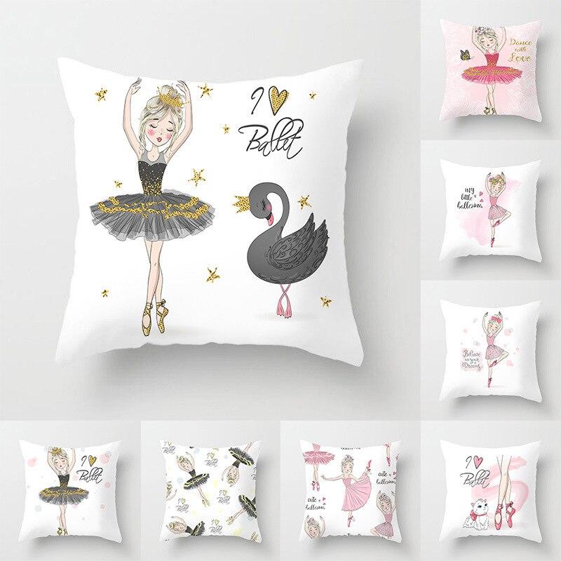 45*45CM Pillow Case Ballet Dancing Girl Printed Pillowcase Square Decorative Pillowcase