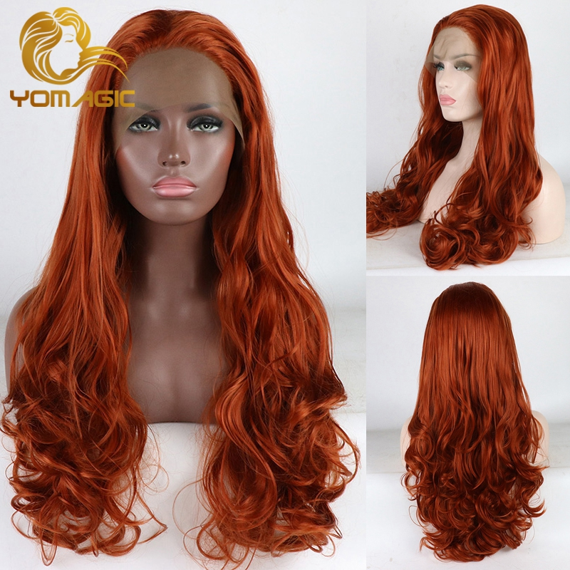 Yomagic Dark Orange Color Lace Front Synthetic Hair Wigs for Women Long Body Wave Glueless Lace Wig Nautral Hairline