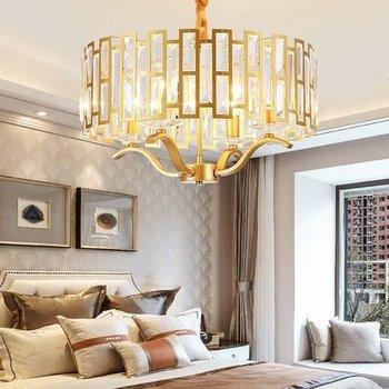 Posmoderno LED de lujo K9 lámpara de araña de cristal iluminación sala de estar oro colgante luces nórdicas dormitorio colgante lámpara de comedor