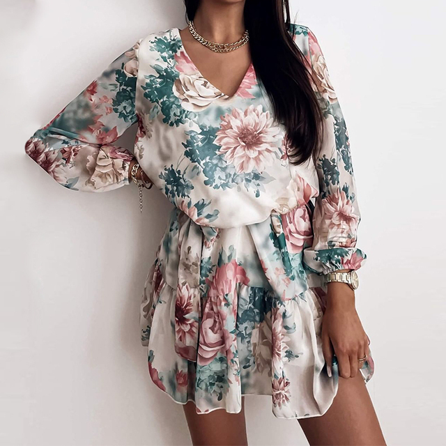 Long Sleeve Chiffon V-Neck Floral Print Mini Dress 3