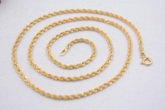 Pure 18k Yellow Gold Chain Unisex Luck 2mmW Rope Link Chain Necklace 18inches 2.61g 5