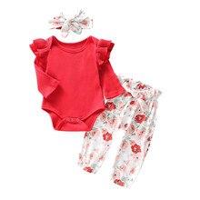 Одежда для маленьких девочек осенне-весенний однотонный комбинезон с оборками для новорожденных, боди+ штаны с цветочным рисунком+ повязка на голову, комплект одежды для маленьких девочек