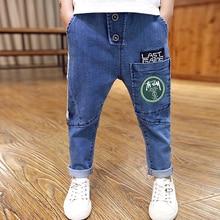 Boys Pants Jeans Letter 2019 Fashion Boys Jeans for Spring Fall Childrens Denim Trousers Haren Kids Dark Blue Designed Pants