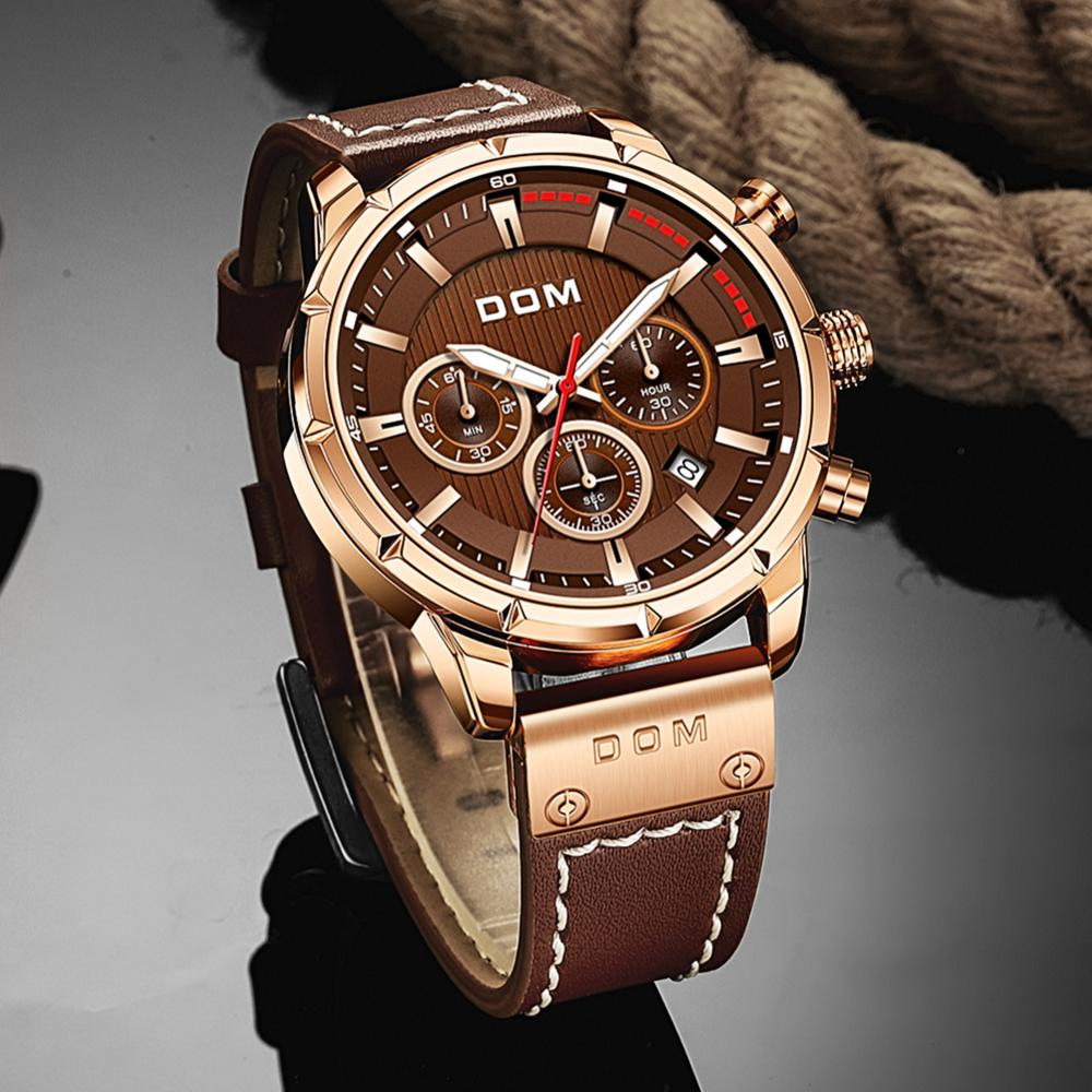 DOM Sapphire Sport Watches for Men Top Brand Luxury Military Leather Wrist Watch Man Clock Chronograph Wristwatch M-1320GL-5M
