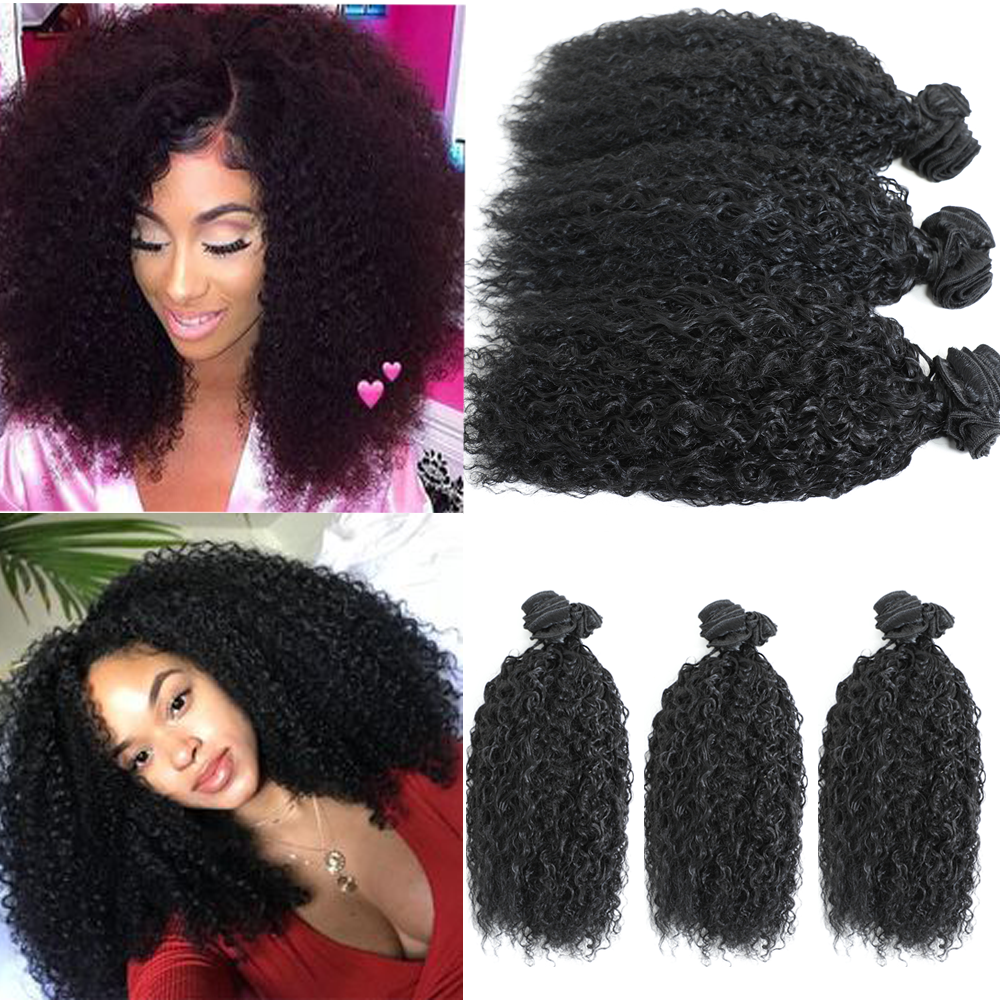 Live Beauty Afro Kinky Curly Hair 16inch 6Pieces/lot Natural color 240g Synthetic Hair Bundles Jerry Hair Weave Curly Hair Exten