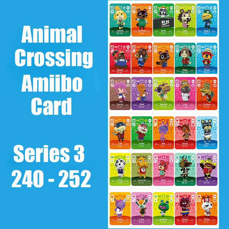 Series 3 240-252 Animal Crossing Cards Amiibo Card Work For Switch NS 3DS Games Animal Crossing Amiibo Cards New Leaf