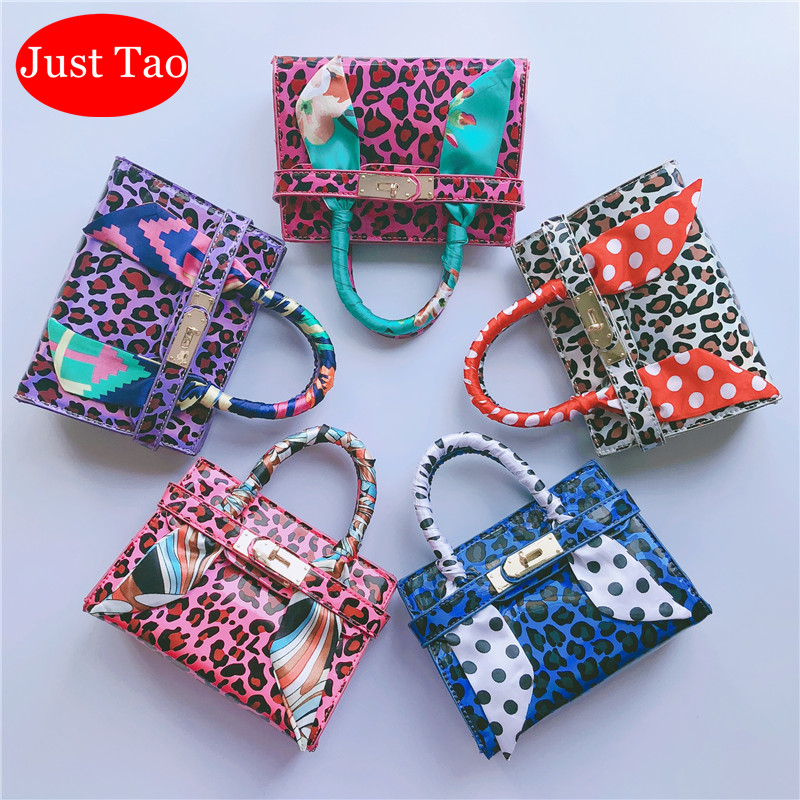 Just Tao! Kids Popular Style Handbags Girls Small Messenger Bags Toddlers Mini Coin Purse Child Trend Bags With Scarf  JT035