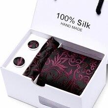цена на 7.5cm Plaid Tie Man Wedding Tie  Jacquard  Men Tie, Handkerchief,  Cufflinks Gift Box Packaging