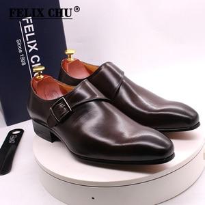 Image 2 - גודל 13 מותג מעצב גברים שמלת נעלי 2020 עור אמיתי אבזם נזיר רצועת גברים של חום שחור משרד המפלגה פורמליות mens נעליים