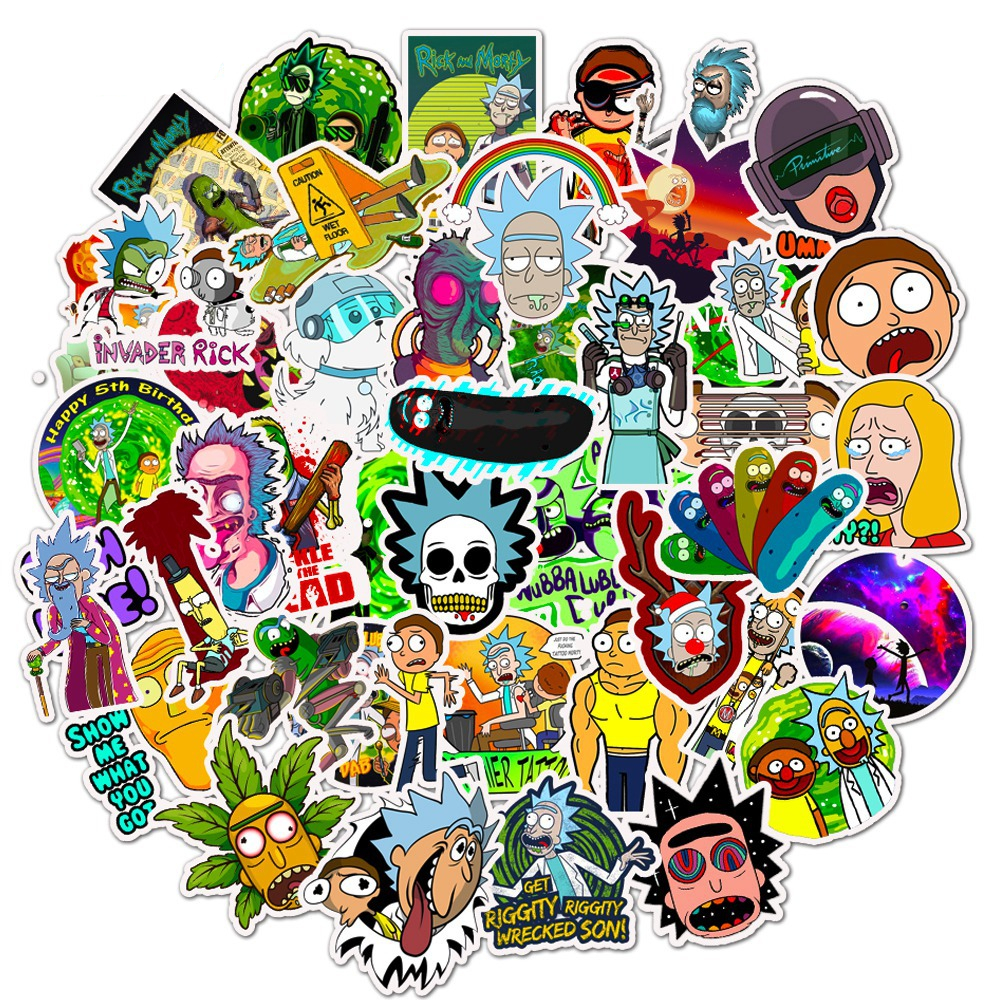 25/50pcs/Pack Waterproof Cartoon Rick And Morty Stickers Skateboard Suitcase Guitar Luggage Laptop Stickers Kid Classic Toy