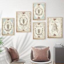 Affiches et imprimés Vintage Abeille française, peinture sur toile d'art mural, Shabby Chic, décoration rétro, photos décor de salon