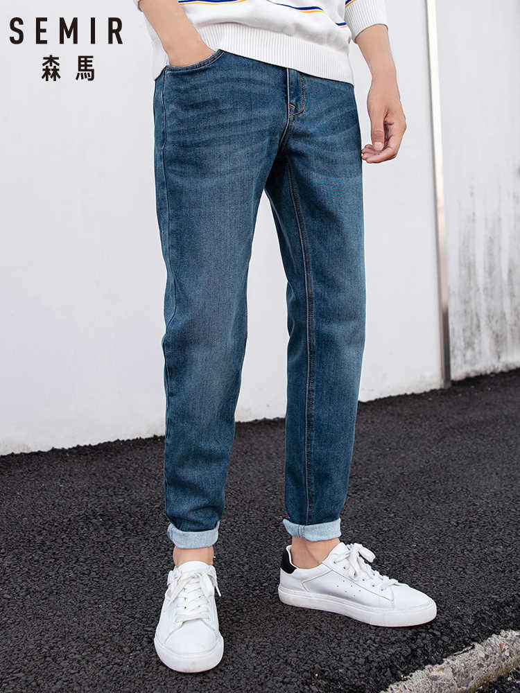 SEMIR Jeans men 2019 winter new feet trousers stretch boys pants ins port pants fashion brand cotton jeans man
