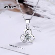 NEHZY – collier en argent Sterling 925 pour femme, pendentif avec fleur en cristal Zircon de haute qualité, longueur 40 + 3.5CM, à la mode, nouvelle collection