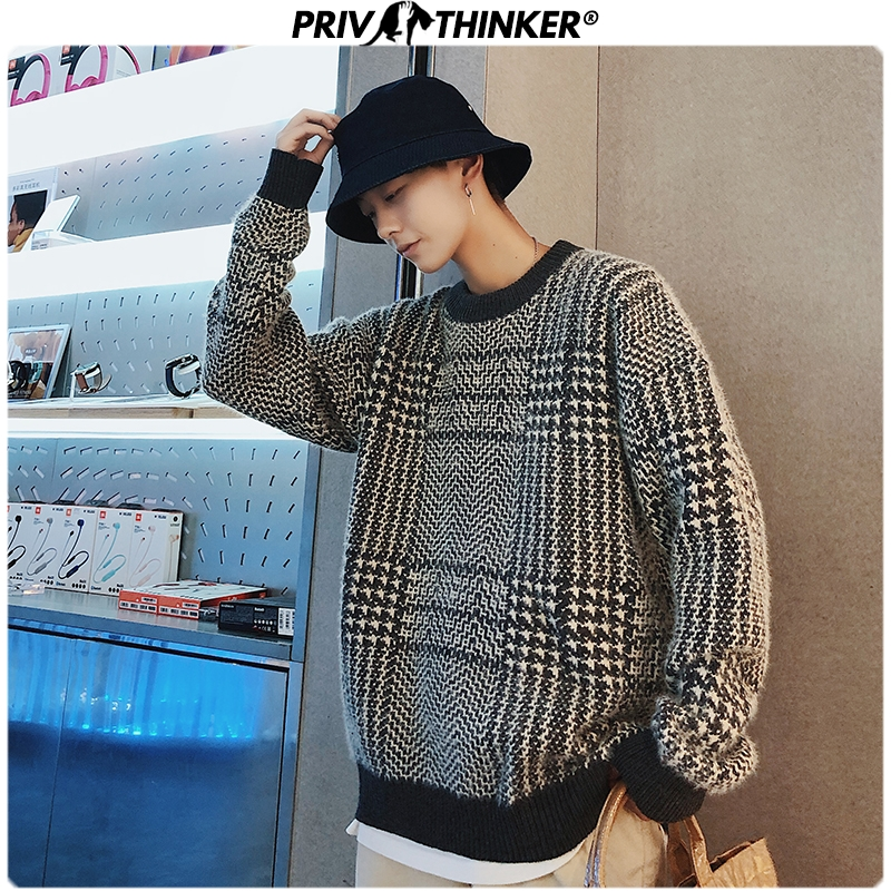 Privathinker Men Plaid O-Neck Knitted Sweaters Men's Casual Autumn Winter Pullovers Tops Clothing Male Hip Hop 2019 Sweaters