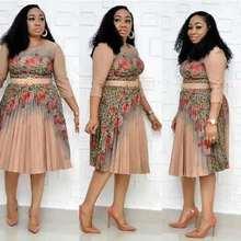 стиль elegent мода африканских женщин лето плюс размер печати платье L-2XLnude плиссированные цветочным поясом элегантный длинным рукавом