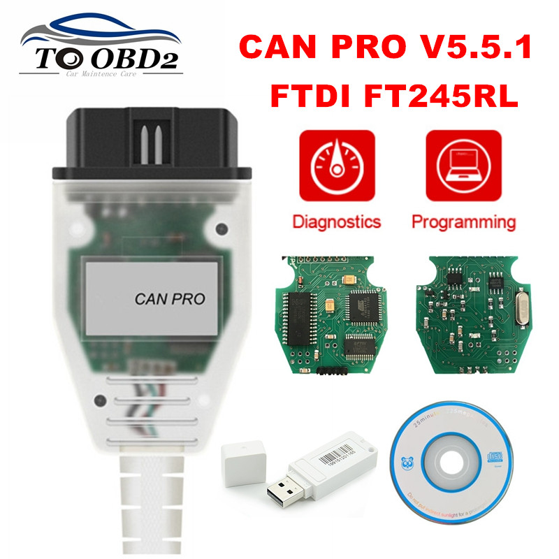 For VAG CAN PRO V5.5.1 FTDI FT245RL Chip VCP OBD2 Diagnostic Interface Support Can Bus UDS K Line For AUDI Without USB Dongle
