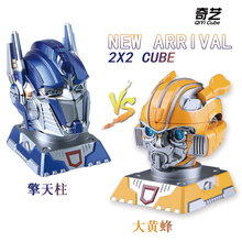 Qiyi High quality 12x15x20cm Bumblebee Optimus Prime Transformation Robot Head 2x2 Cube puzzle