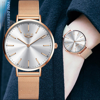 LIGE new Women Watches top brand luxury casual fashion watch ladies Wristwatch Waterproof Clock Slim Quartz Ladies Watch+Box casual watches fashion women watch top brand hot sale ladies wristwatch ccq new clock simple design female quartz watch for girl