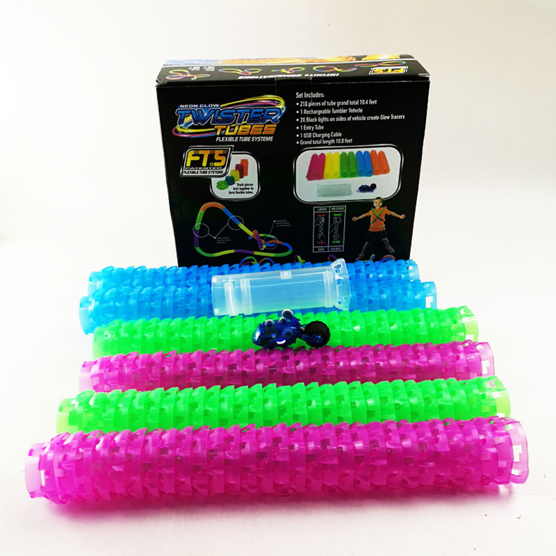 DIY Kid Twister Tubes Game Toy Electric Pipe Track Car Set Flashing Light Tube Truck Rechargeable Glow Tracers Kids Holiday Gift