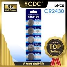Baterias de botão dl2430 br2430, 5 unidades/pacote cr2430 célula de bateria de lítio 3v cr 2430 para relógio brinquedo eletrônico controle remoto