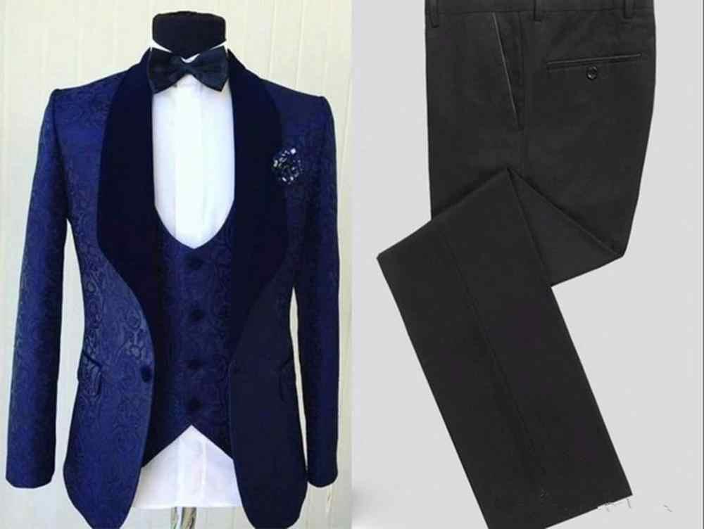 Popularne granatowy mężczyźni smokingi ślubne aksamitna szal Lapel smokingi dla pana młodego mężczyzn DinnerDarty sukienka 3 sztuka garnitur (kurtka + spodnie + kamizelka)