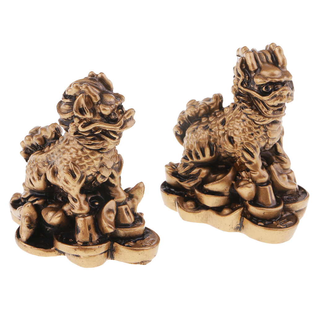 Resin Chi Lin/Qi Lin Statue Feng Shui Collectible Home Furnishing Articles Wealth Lucky Statue Home Furnishing Articles Crafts