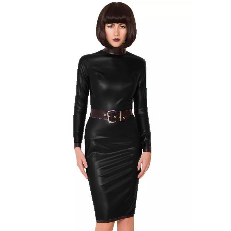 24 Colors Back Zipper Long Sleeve Knee Length Dress Lady Slim Vestido Fashion Patchwork Color Midi Dress Sexy Stage PVC Clubwear 16