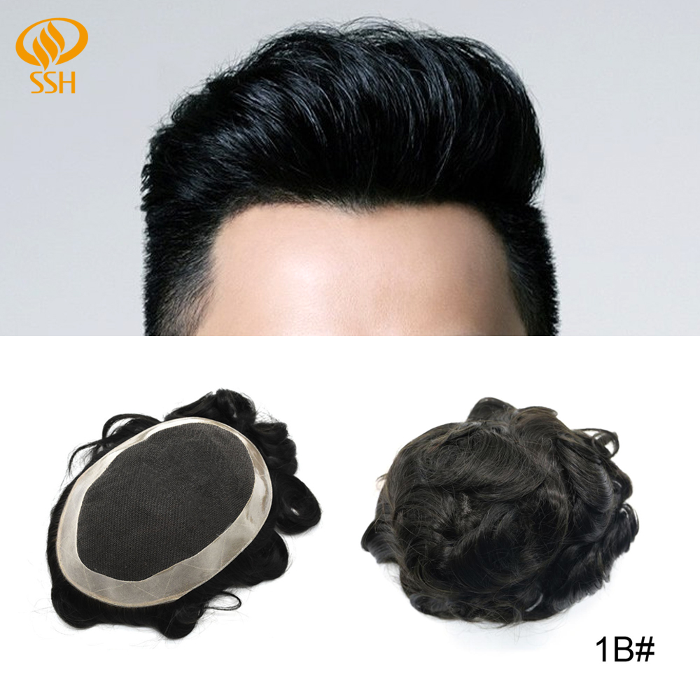 SSH Remy Human Hair French Lace Front Hair Replacement Systems Natural Mens Toupee/Hairpiece Poly Coating Around Mens Wigs