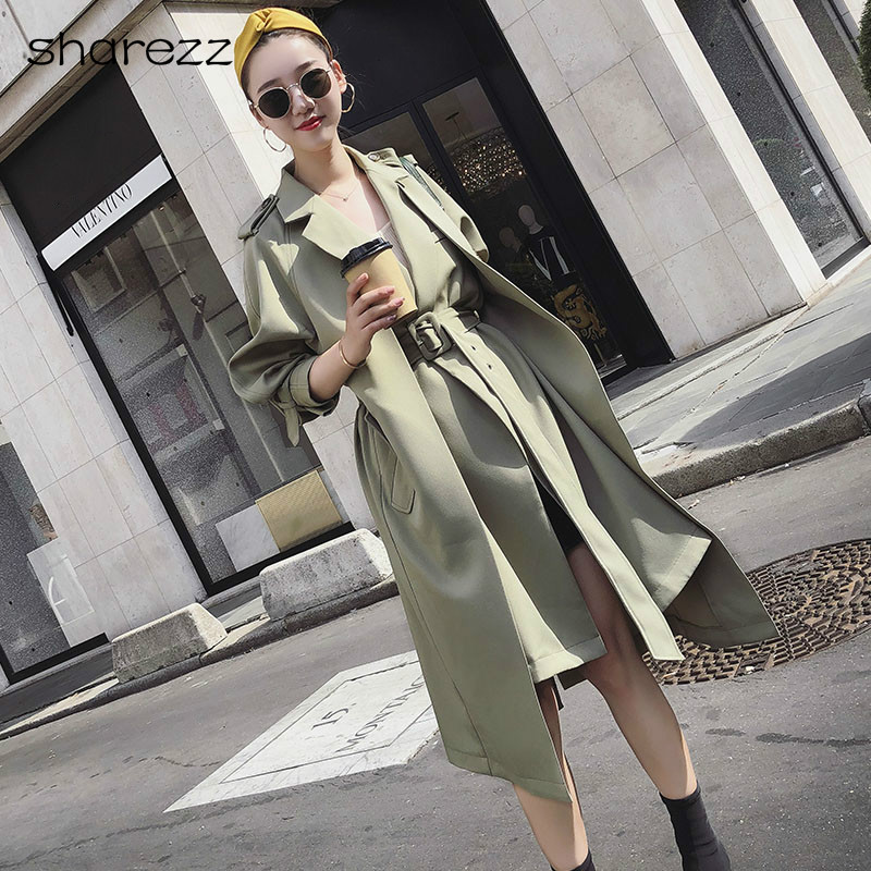 2019 New Fashion Windbreaker Waistband Fake Two Pieces Mid-long   Trench   Coat Women Green Slim Belt Cloak Windbreaker Female