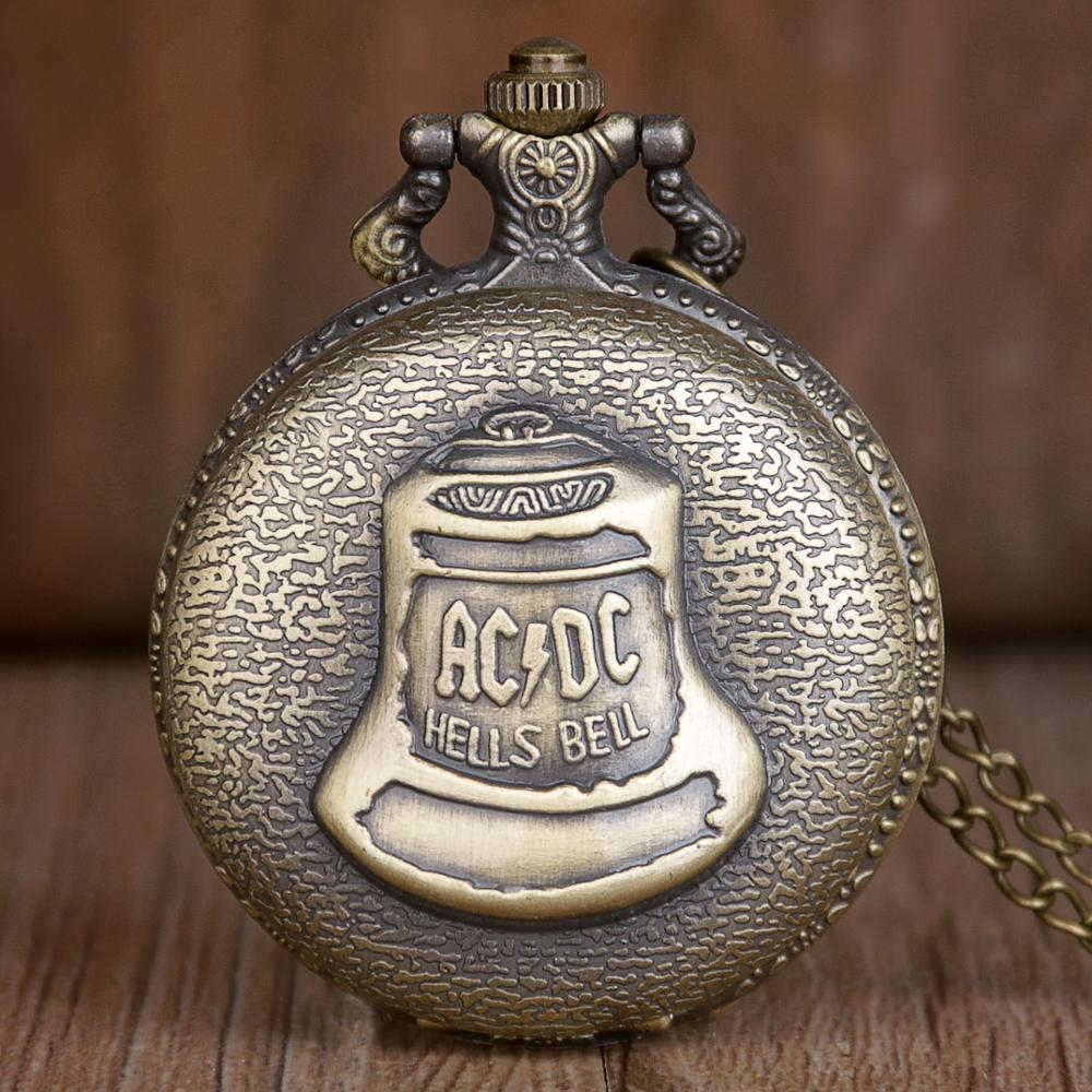 New Bronze Hells Bell ACDC Pattern Quartz Pocket Watch Stainless Steel Case Arabic Numeral Necklace Chain Gifts For Men Women