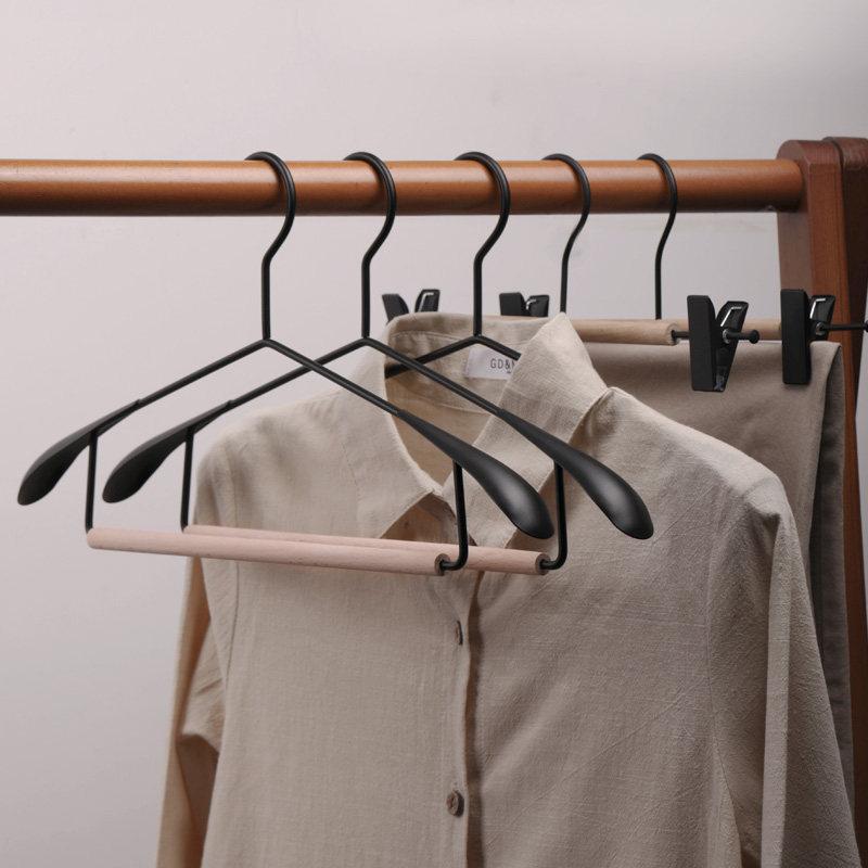 Fashionable Wooden Metal Iron Nordic Clothes Coat Hangers Wardrobe Closet Hanger for Pants Hanger