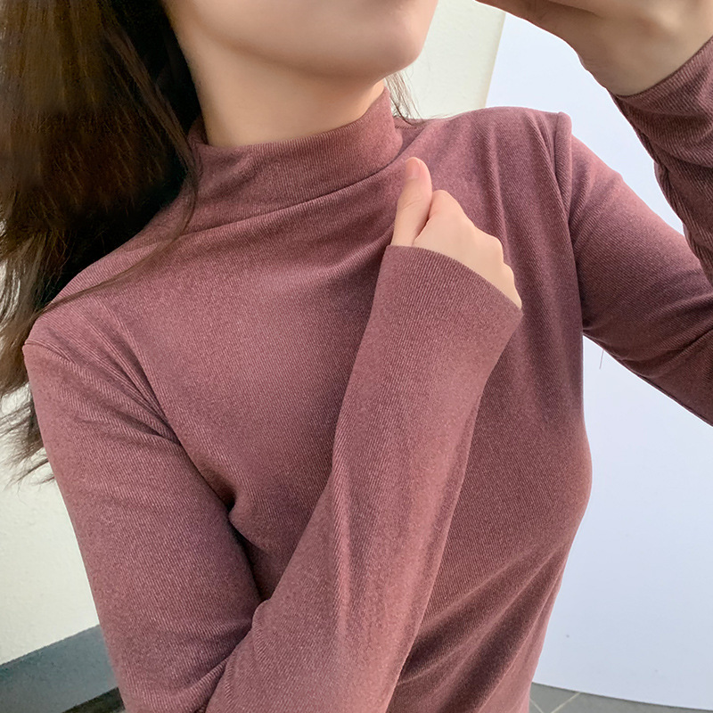 2019 High Elastic Autumn Winter Top Cloth Turtleneck Slim Jumper Warm Pull Women Knitted Ribbed Pullover Cloth Dropshipping