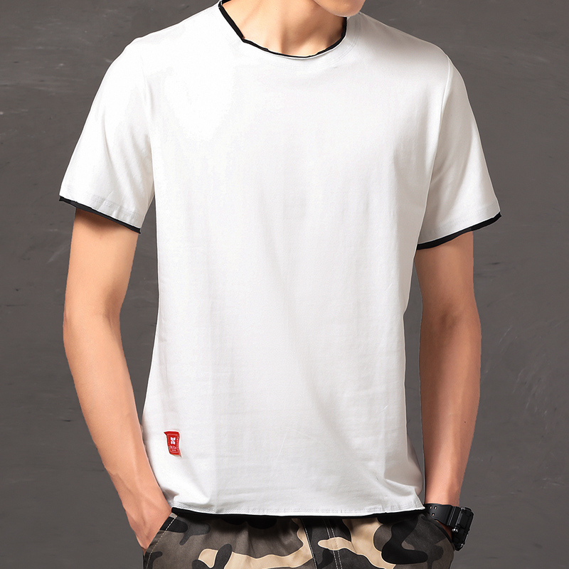 2020 New Solid Color Cotton T Shirt Mens Black And White T-shirts O Neck Summer Skateboard Tee Boy Skate Loose Tshirt Tops 3xl