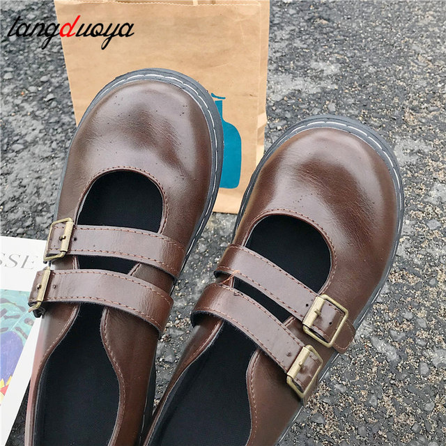 Talons hauts Lolita chaussures talons bas escarpins bas talons carrés boucle sangles cuir PU Cosplay chaussures de femme de chambre Kawaii princesse Lolita chaussure