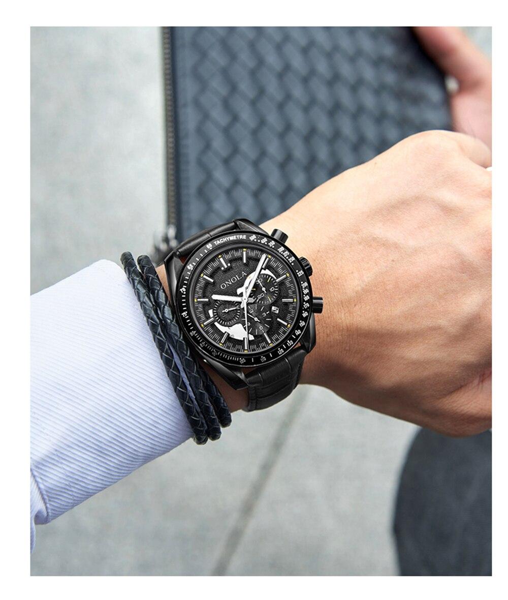 luxo pulseira de couro relógio mecânico automático