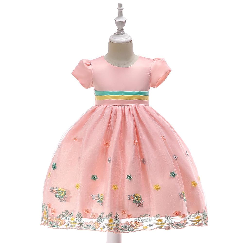 2019 New Style Europe And America CHILDREN'S Dress Embroidery Flowers Puffy Dress Flower Boys/Flower Girls Short Sleeve Wedding