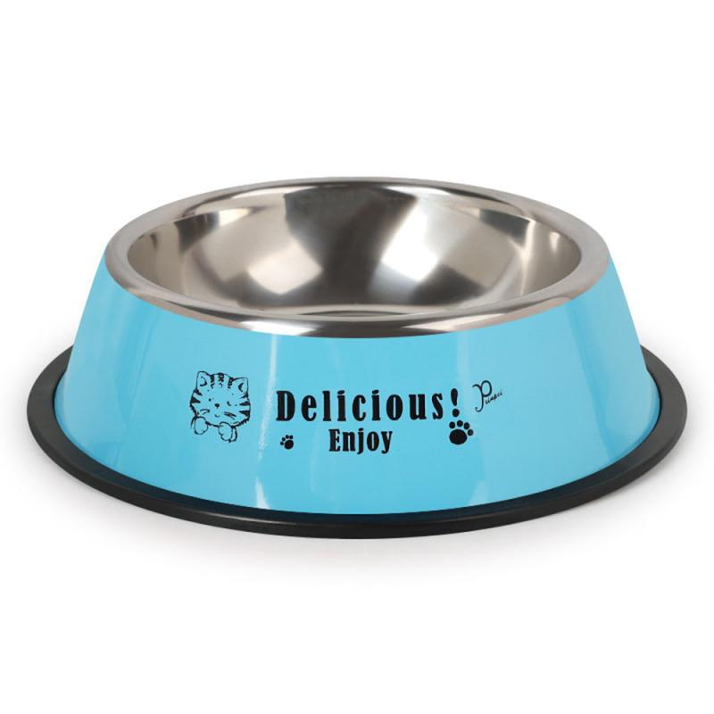 Durable Stainless Steel Non-Slip Dog Puppy Cat Animal Feeding Food Bowl Dish Random Color Water Bottle Food Dropshipping 14